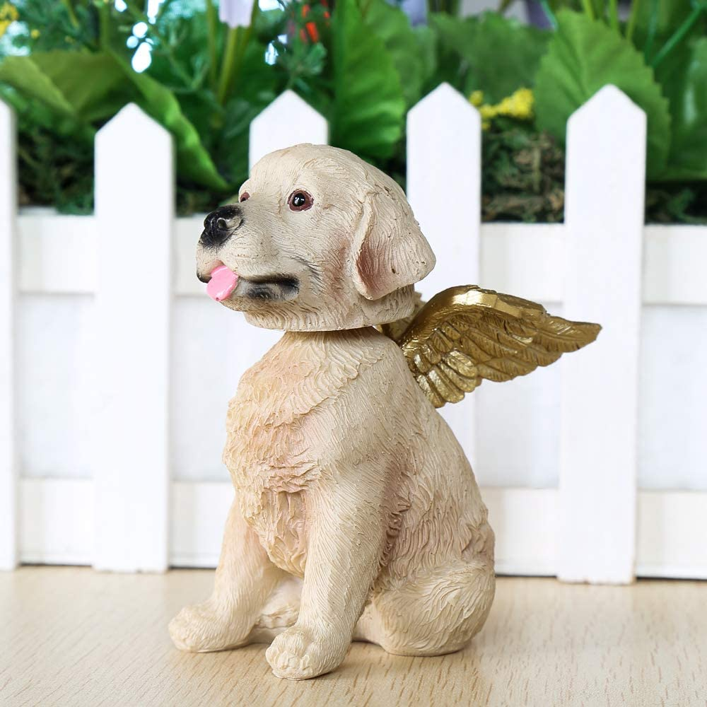 neemor Labrador Retriever Pet Angel Wings Memorial Gifts Grave Marker Tribute Puppy Dog Statue Detail Sculpture Hand Painted Resin Pet Figurine Home Decor Garden Figurine