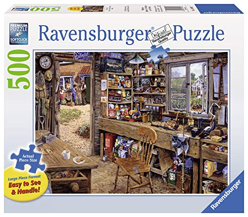 Ravensburger Dad's Shed - 500 Pieces Large Format Jigsaw Puzzle for Adults - Every Piece is Unique, Softclick Technology Means Pieces Fit Together Perfectly