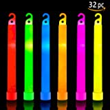 32 Ultra Bright Glow Sticks Plus 32 Party Strings - Total 64 Pcs - Bulk Pack Industrial Grade - 6 Inch Waterproof Glow Stick - Glow Light With 12 Hour Duration - Mixed Colors - Bend, Shake To Activate
