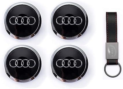 Set 4X Tapacubos 69mm para Audi A3 A4 A5 A6 TT RS4 Q5 Q7 S4 A8 Logo Tapas para Llantas de Aleación(+ Llavero de Cuero): Amazon.es: Coche y moto