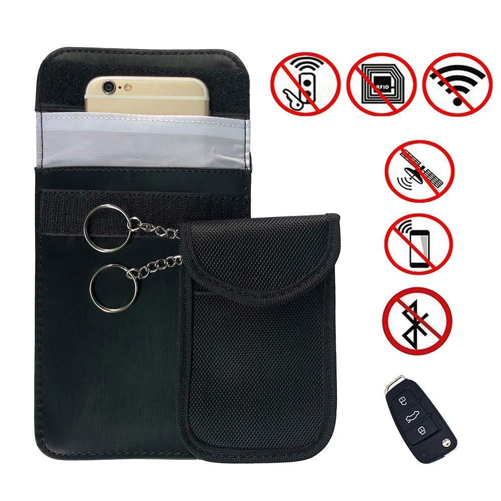 SEEALLDE Auto-Schlü ssel-Signal-Blocker-Beutel, 2 Satz RFID-Handy-Signal-Abschirmungs-Beutel, Keyless-Auto-Diebstahl-Verhinderung-Signal-Blocker, alle Signale der Anrufe / SMS / WIFI / RFID / GSM abschirmend (Schwarz)