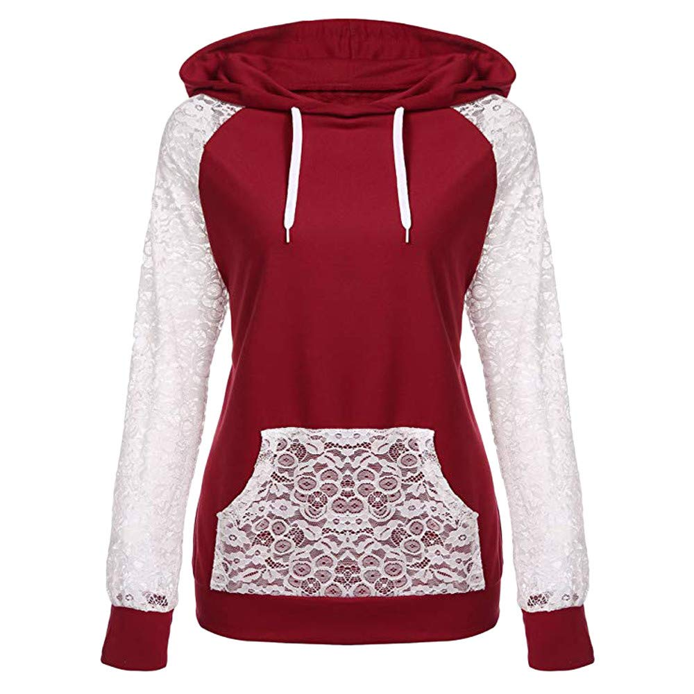 Ulanda Womens Sheer Lace Long Sleeve Hooded Patchwork Sweatshirt Pullover Hoodies with Pockets