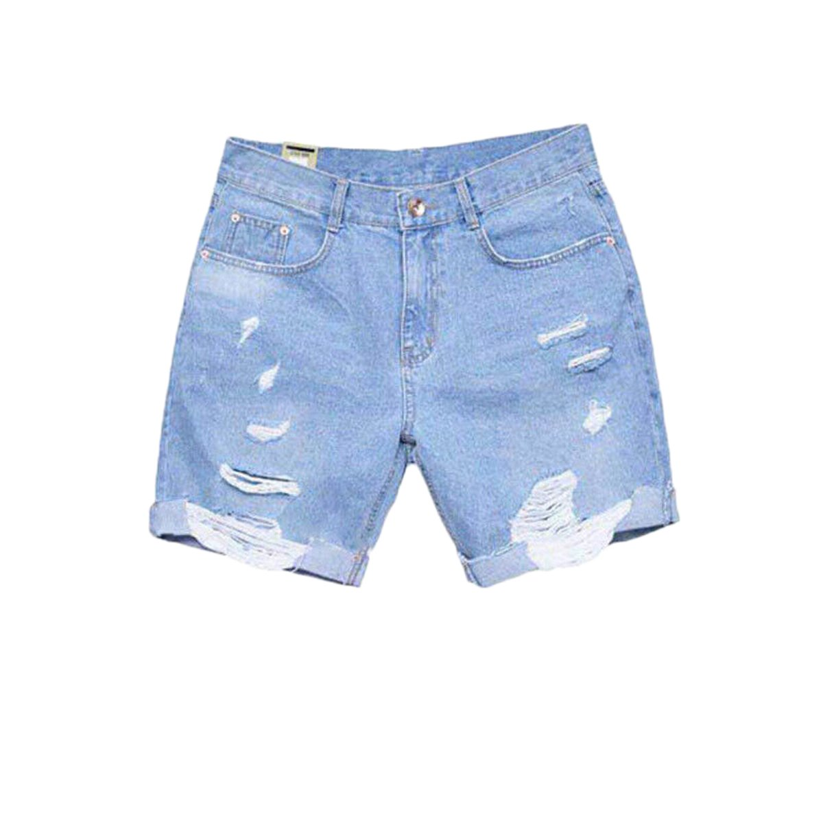 Men Casual Loose Fit Ripped Distressed Half Moto Jeans Denim Shorts