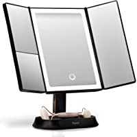 Fancii Makeup Mirror with Natural LED Lights, Lighted Trifold Vanity Mirror with 5X & 7X Magnifications - Dimmable…