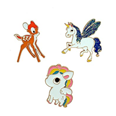 Christmas Horse Cartoon.Amazon Com Herinos Cartoon Badges 3pcs Pegasus Horse Deer