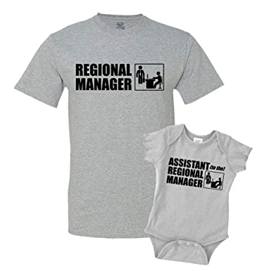 f4ce5a20 Regional Manager/Assistant Combo Matching Dad Baby Shirts or Bodysuit  Athletic Heather