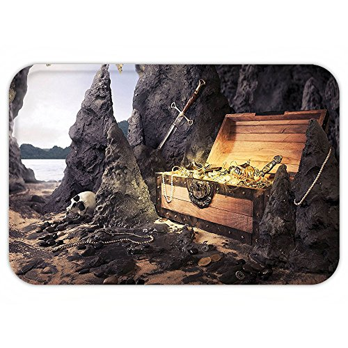 Dog Pirate Treasure Chest Costume (Kisscase Custom Door MatFantasy Open Treasure Chest with Goldand Sword in Cave Pirate Fairy Illustration Charcoal Grey Amber)