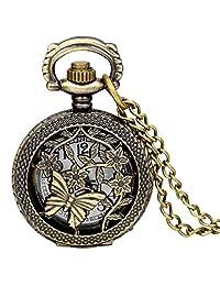 "Jewelrywe Bronze Butterfly Pattern Openwork Cover Women Ladies Quartz Pocket Watch with 31.5"" Chain"