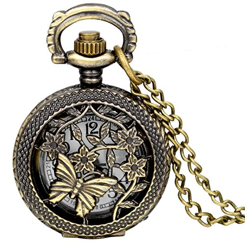 terfly Pattern Watch Mothers Day Gift Openwork Cover Women Ladies Quartz Pocket Watch Necklace with 31.5