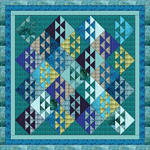 Quilt Kit Ocean Waves, Beautiful Colors of the Ocean/Queen by Material Maven
