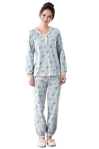 El conjunto de pijama para las mujeres de ocio y deporte, con las mangas largas