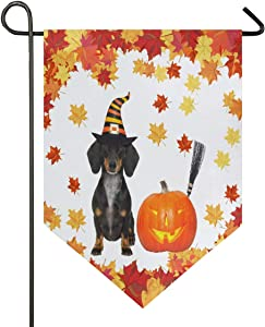 Oarencol Halloween Devil Sausage Dachshund Dog Pumpikm Maple Leaves Garden Flag Double Sided Home Yard Decor Banner Outdoor 12.5 x 18 Inch