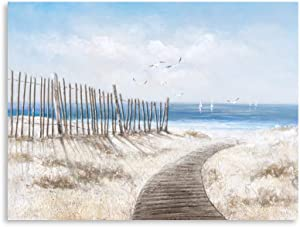 B BLINGBLING Beach Wall Decor Coastal Wall-Art: Wooden Path to Seashore Sea Bird Canvas Painting Framed Ready to Hang (24