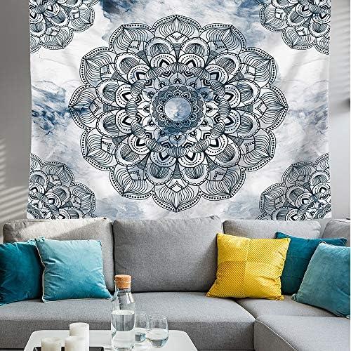 Kingla Home Blue Mandala Tapestry Wall Hanging Boho Bohemian Floral Tapestry for Bedroom Living Room 70.9 x92.5