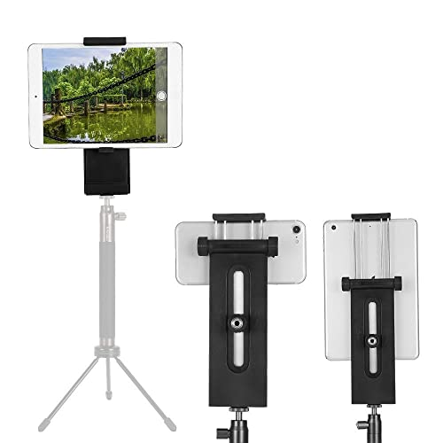 """iPad Tripod Mount, Moreslan 2-in-1 Multi-angle Universal Extendable Tablet Clamp Holder Phone Mount with two 1/4"""" Screw Threads for 3.5-13"""" Inch Phones, iPad Pro/Air/Mini, Tripod, Monopod, Self Sticks"""