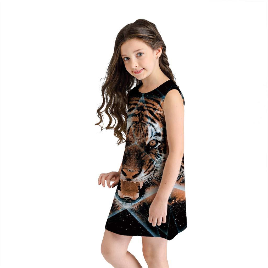 NUWFOR Teen Toddler Kid Girl Summer Sleeveless 3D Print Cartoon Dresses Casual Clothes(Black,7-8 Years)