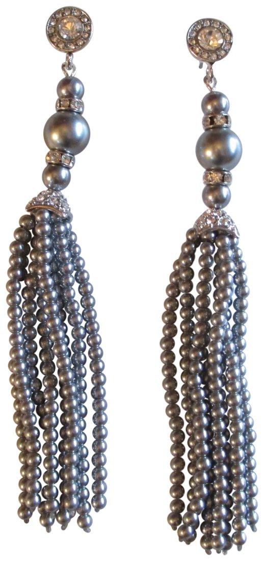Kenneth Jay Lane Rhodium Plated Crystal Top with Faux Grey Pearl Tassel Drop Earrings