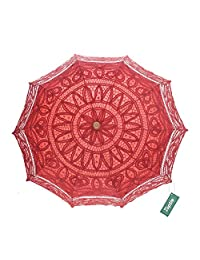 TopTie Embroidered Lace Umbrella Vintage Parasol For Wedding Party Decoration-Red