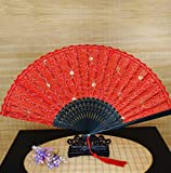 Red Glitter Floral Lace Bamboo Handheld Folding Fans Chinese Bamboo Hand Held Dance Fan