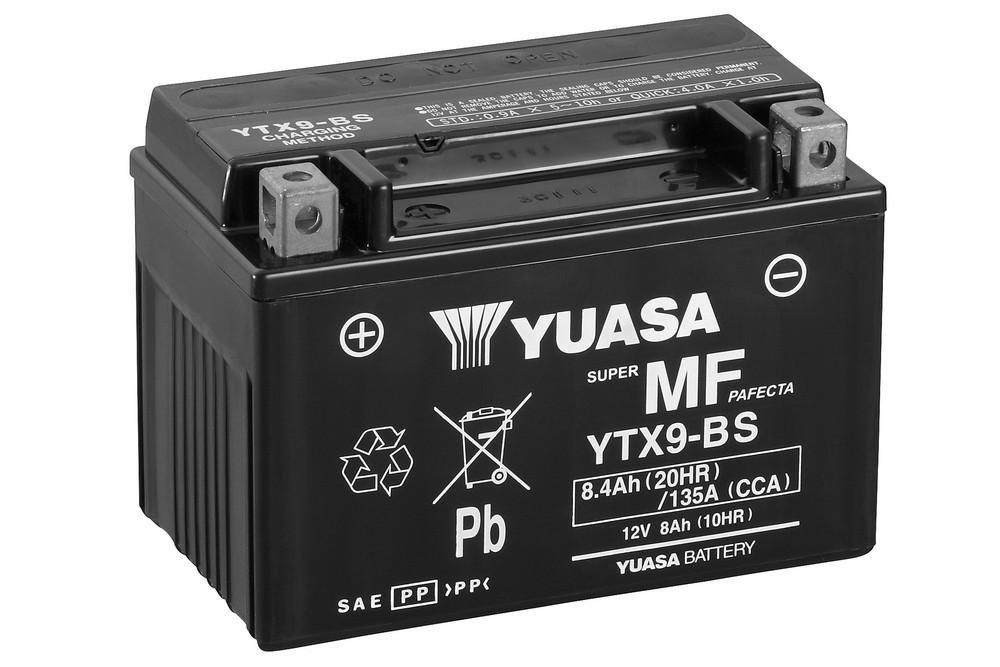 Batterie YUASA YTX9-BS, 12V/8AH (Maß e: 150x87x105) fü r Piaggio / Vespa ET4 150 Baujahr 2002