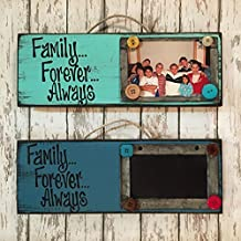Photo Holder Chalkboard Sign - FAMILY FOREVER ALWAYS - Picture Frame Wall Home Decor - Red Aqua Turquoise Blue Tan