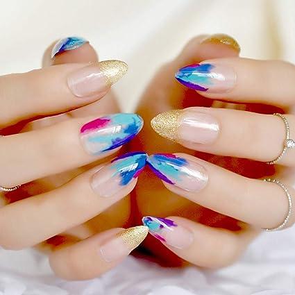 EchiQ - Pintura para uñas postizas con puntas de punta, estilo chino, color dorado