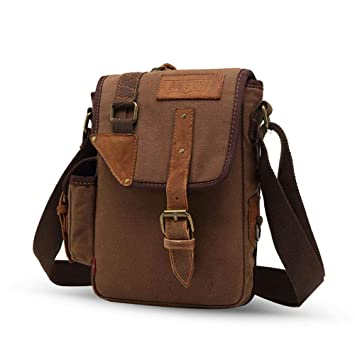 0afb6a9df94b AOLVO Mens Messenger Bag Waterproof Canvas Computer Laptop Bag 7 Inch  Briefcase Case Vintage Retro Waxed