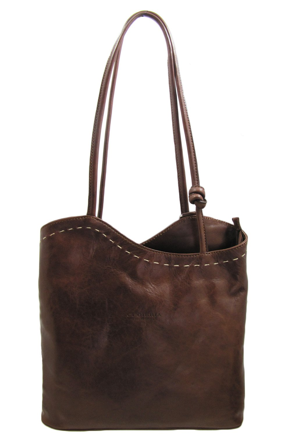 Cuoieria Fiorentina Italian Leather Convertible Shoulder Backpack Handbag (Brown)
