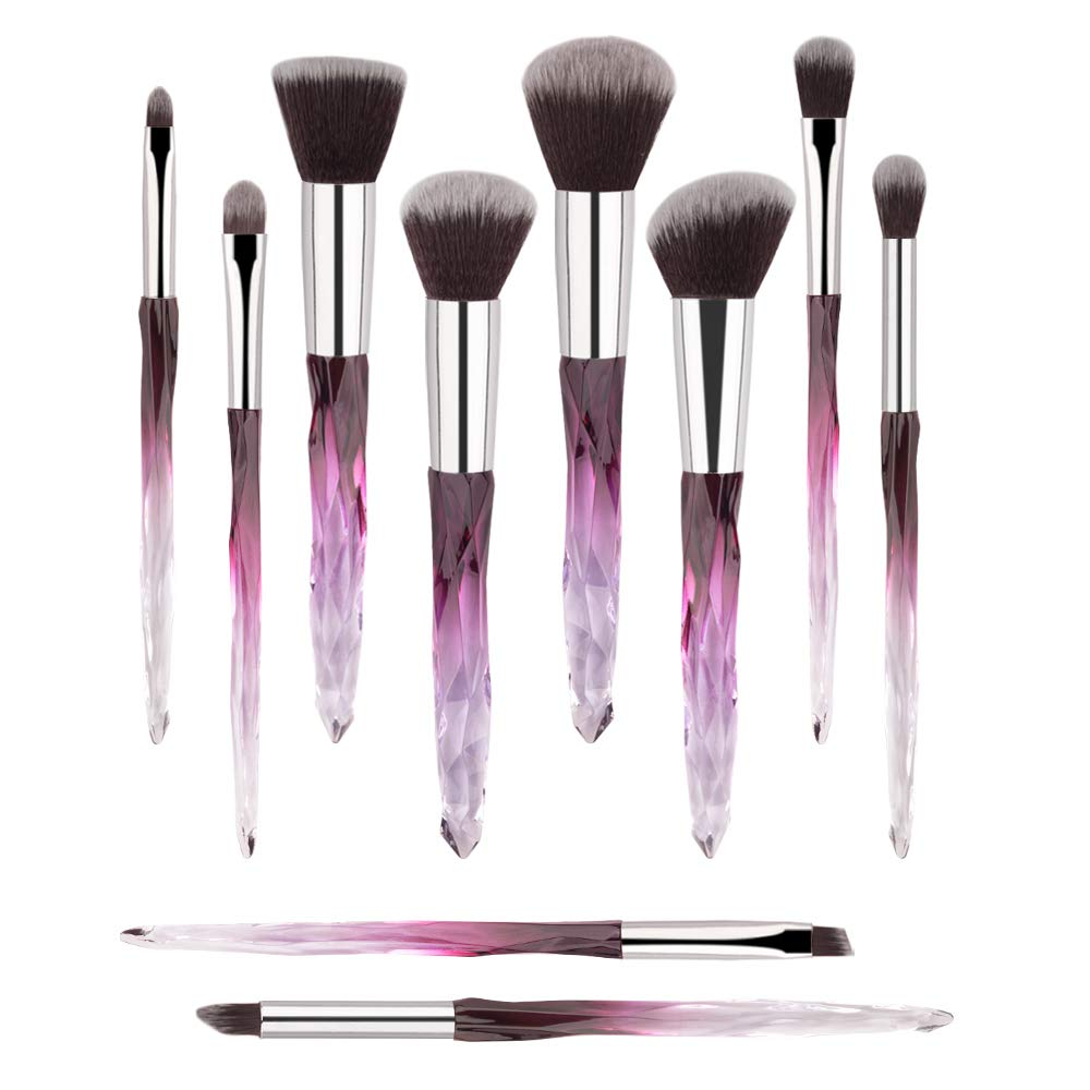 Premium Makeup Brush Set, 10pcs Complete Synthetic Kabuki Eye Shadow Concealer Make Up Brushes Beautiful Crystal Handle(Purple)