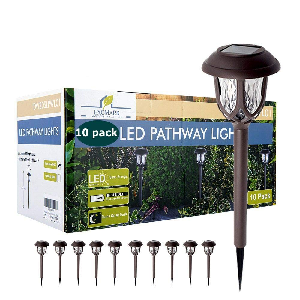 ExcMark 10 Pack Solar Lights Outdoor Decorative, Solar Pathway Lights Outdoor, Solar Powered Garden Yard Lights for Walkway Sidewalk Driveway (Cool White, 10 Pack)