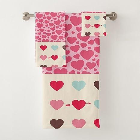 vunko día de San Valentín Love you baño juego de toallas 3 piezas Color Rosa Amor ...