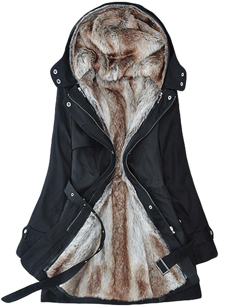 YOUJIA Donna Cappotto d'inverno Spesso Caldo con Cappuccio Lungo Giacca Parka con cintura