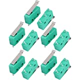uxcell 10Pcs AC250/125V 3A Micro Limit Switch SPDT 3 Terminal Momentary 20mm Lever Arm Green KW12-5S