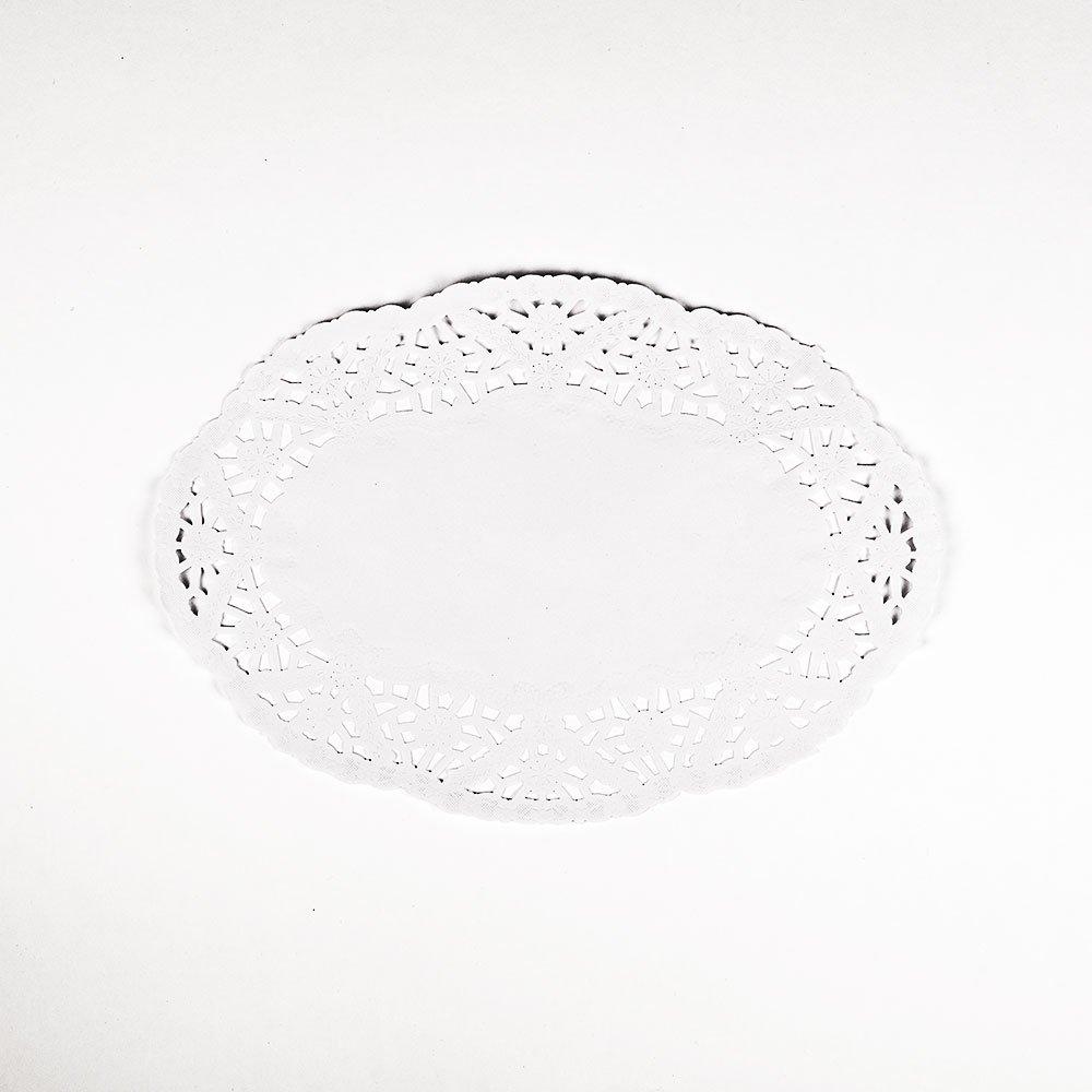 PaperLanternStore.com 9'' Oval White Lace Paper Doilies Disposable Party Table Decor (50-Pack)