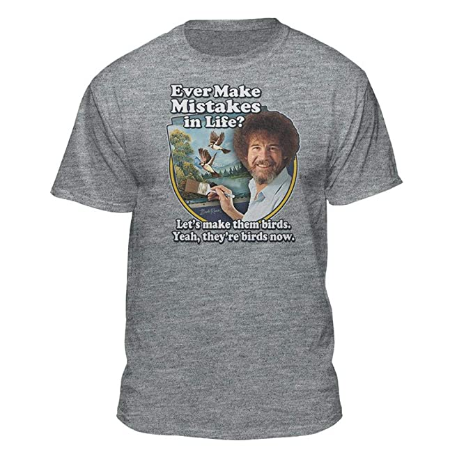 73ae41f4d Bob Ross Make Mistakes Into Birds Official Licensed T-Shirt Athletic Heather
