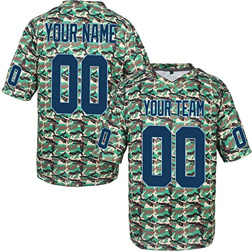 (Custom Football Jerseys for Men Embroidered Name and Numbers Camo Salute to Service Jersey,Navy-Light Blue Size 3XL)