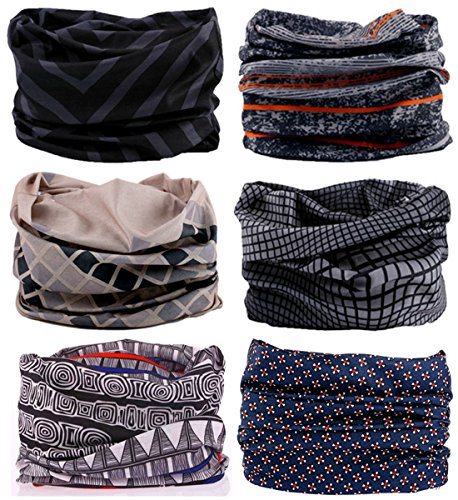 SmilerSmile 6pcs Assorted Seamless Outdoor Sport Bandanna Headwrap Scarf Wrap, 12 in 1 High Elastic Magic Headband & Collars Muffler Scarf Face Mask with UV Resistance, (Duke)