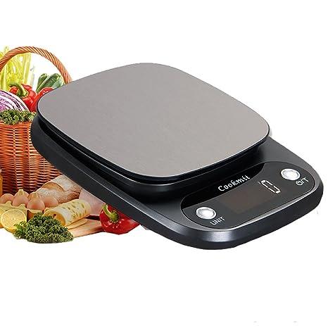 Cookmii Báscula Digital de Cocina Peso de Cocina 10 Kg/1 g, Acero Inoxidable