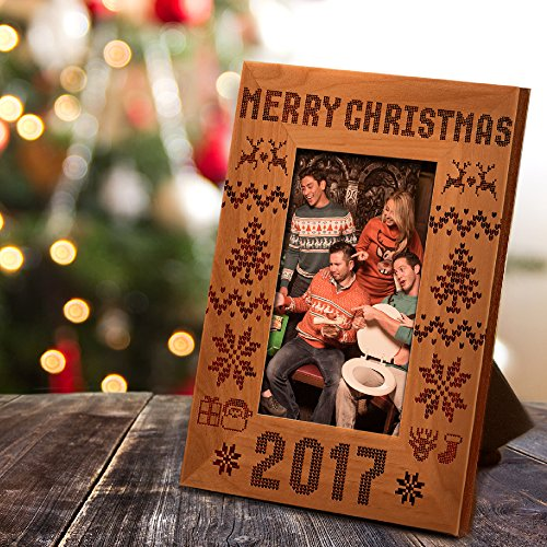 P Lab Merry Christmas 2017 Ugly Christmas Sweater Pattern Picture Frame, Christmas Gift, Family Present, Holiday Frame, Memento for Family, Xmas Gift for Friend (Xmas Frames)