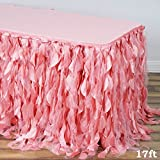 Efavormart 17ft Enchanting Curly Willow Taffeta Table Skirt for Kitchen Dining Catering Wedding Birthday Party Events - Rose Quartz
