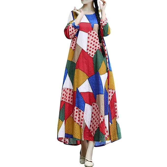 Robe Hiver Femme Chic Longue Carreaux Vichy Impression ChampêTre Balloon Jupe  Cloche Multicolore L 2c7d28bed3e3