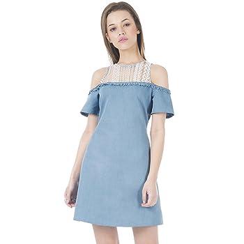 Faballey Womens Denim Cut-Out Dress