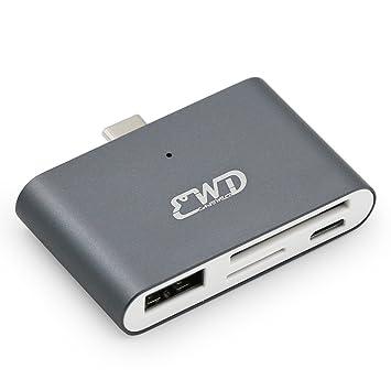 USB Tipo C HUB OTG/TF/SD Adaptador Lector de Tarjeta para Macbook ...