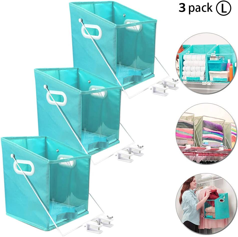Closet Caddy Dirty Clothes Storage Organizer Case Pull Down Shelf Basket Rotatable Retrieve Items Telescopic Debris Storage Rack 1PACK Foldable Organizers with Clear Window Carry for Bedroom L
