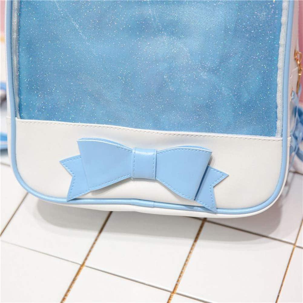 Blue Transparent Women Backpack Cute Bow Ita Bags for School Mini Schoolbags for Teenage Girls Fashion Bookbag