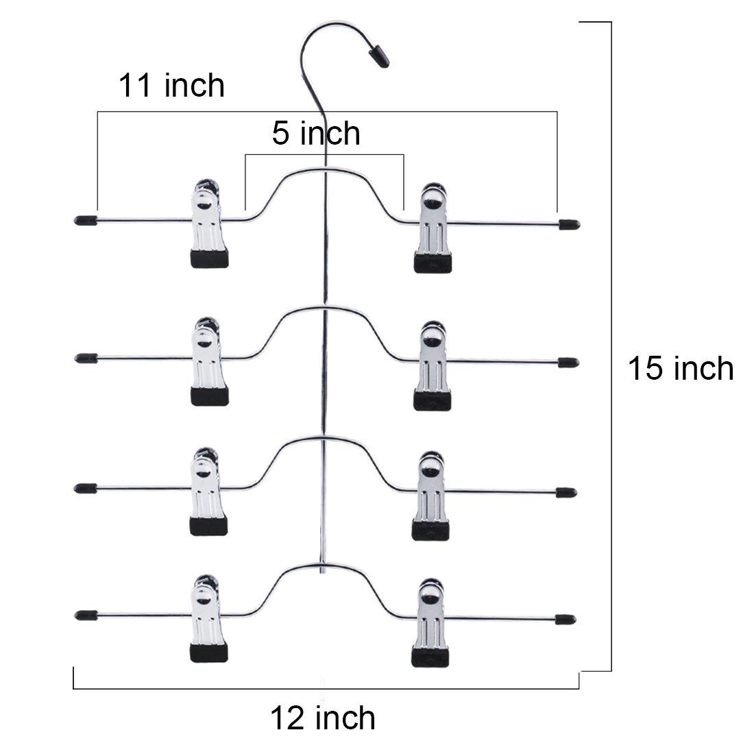 Tosnail 4 Pack 4 Tier Trouser Skirt Hanger - Non Slip Black Vinyl Clips Great Space Saver Your Closet by Tosnail (Image #3)