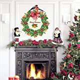 Merry Christmas Shop Window Clings Garland Home Decor Removable Wall Stickers Window Decal Garland for Christmas New Year, 21 x 23.6 Inch