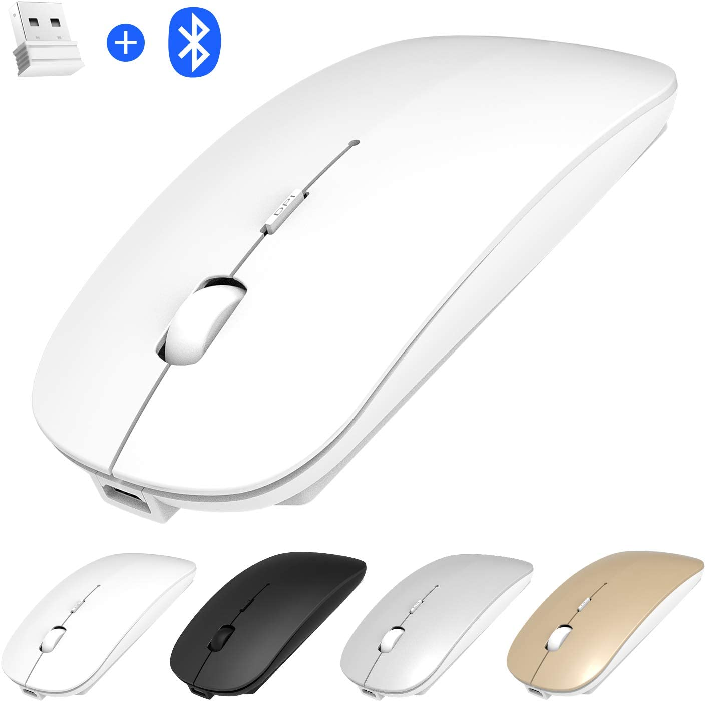 Rechargeable Bluetooth Mouse, Dual Mode Bluetooth and 2.4GHz Wireless Mouse Compatible for MacBook, Laptop, Windows, PC, Computer, Notebook, Mac,Android Tablet,Ipad Mouse