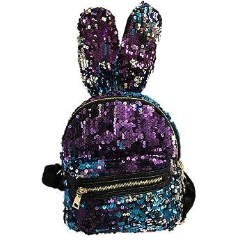 Gusspower Mochila de Lentejuelas de oreja de conejo de chicas de moda Bolso escolar de ocio para mujeres Mochilas de viaje (Azul): Amazon.es: Equipaje