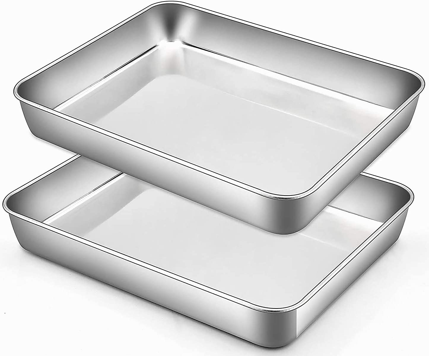 Baking Sheet, Sheet Pan, Cookie Sheet, Heavy Duty Stainless Steel Baking Pans, Toaster Oven Pan, Jelly Roll Pan, Barbeque Grill Pan, Deep Edge, Superior Mirror Finish, Dishwasher Safe -2 Pieces